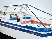Boat Cover Support Pole System With Straps Prevents Water Pooling