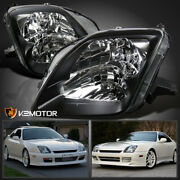 For 1997-2001 Honda Prelude Black Bezel Headlights Lamps Replacement Left+right