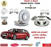 For Audi A4 Avant 2.0 Tdi 120 Bhp Front And Rear Brake Discs Pads And Fitting Kits