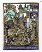 Antique 1850s Russian Bronze Enamel Icon Plaque Of St. George Slaying A Dragon