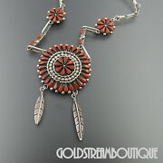 A. Pinto Zuni Sterling Silver Red Coral Flower Cluster Feather Chain Necklace