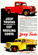 1948 Willys - Overland - Jeep Trucks - Promotional Advertising Poster