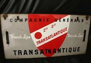 Cgt French Line Dove Gray Enameled Metal Sign