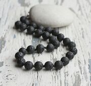Men's Black Lava Beads Long Necklace, Knotted Necklaces, Mala Beads, Men's Gift.