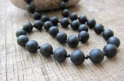 Men's Black Onyx Beads Long Necklace, Knotted Necklaces, Mala Beads, Men's Gift.