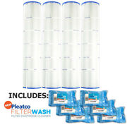 4 Pack Pleatco Pa131 Filter Cartridge Hayward Swimclear W/ 6x Filter Washes