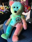 Rare Ty Beanie Baby Peace Bear Original Collectible With Tag