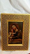 Antique 18c Spanish Colonial Original Oil On Canvas Seated Christ With Child