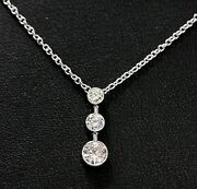 Diamond Drop Pendant 14k White Gold With 3-diamonds At 0.85ct Total Weight