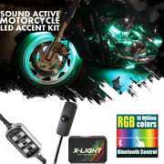Blue Tooth Custom Motorcycle Under Glow Accent Neon Light Kit Leds 16 Pods - Rgb