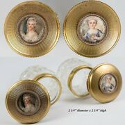 Pair Antique French Vanity Jars Bronze And Crystal Marie-antoinette Miniature