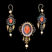 Vtg Victorian 15k Gold Coral Cameo Pin Pendant Dangle Earrings Decades In Vault