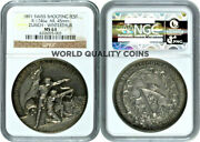 Swiss 1891 Silver Shooting Medal Zurich Winterthur R-1746a Mint-250 Ngc Ms63