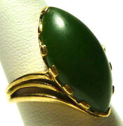 Retro Signed 10k Yellow Gold Marquise Jade Cabochon Oriental Cocktail Ring S5.25