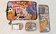 Vera Bradley Painted Feathers Travel Makeup Curling Iron Pill Case Luggage Nwt