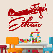 Personalized Name Wall Decals Boy Decal Vinyl Stickers Plane Airplane Decor Mn2