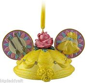 New Disney Parks Belle Mickey Ear Hat Christmas Ornament Beauty And The Beast