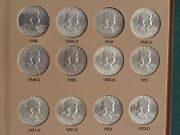 Franklin Silver Half Dollar Uncirculated Complete 1948 - 1963 54 Coins Proofs