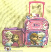 Disney Frozen Anna Elsa Olaf 12 Rolling Purple/pink Backpack And Lunch Bag-new