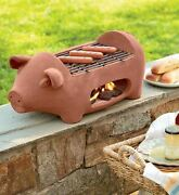 Terracotta Pig Hibachi Outdoor Barbeque Charcoal Grill, Portable Camp/tailgate