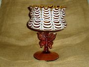 Dc Nailsea Compote Candy Dish Butterfly Medallion Victorian Glass