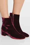 Gianvito Rossi Burgundy Velvet Margaux Ankle Boots 37/7 Sold Out