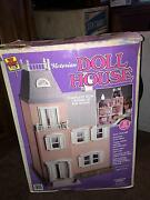 Vintage 1989 Toy Street Victorian Doll House 7 Rooms Of Furniture, And Dolls
