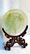 Antique 19c Chinese Carved Flowering Peony Tree Jade Plate On Fitted Teak Stand