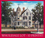 Wholesale 10 Prints- Victorian Queen Anne Gingerbread Cat Lady Signed Souders