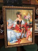 Vintage Woman Oil Painting On Canvas 46 X 37 1/2 W/ Custom Frame Watch Video
