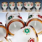 Antique French Opaline Breakfast Set, Egg Cups And Condiment Dish, Glass Jeweled
