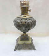 Antique Table Oil Lamp Brass Marble Aladdin Ornate With Faces 27