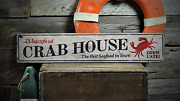Crab House Custom Beach Location Best - Rustic Distressed Wood Sign