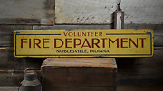 Volunteer Fire Department City State - Rustic Distressed Wooden Sign