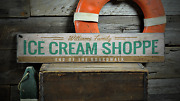 Ice Cream Shoppe, End Of The Boardwalk - Rustic Distressed Wood Sign
