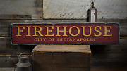 City Firehouse Custom Fire Dept. - Rustic Distressed Wood Sign
