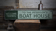 Welcome Lake Lake House Decor Boat - Rustic Distressed Wood Sign