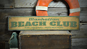 Beach Club, Surf Volleyball Paddling - Rustic Distressed Wood Sign