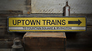 Uptown Trains Directional Arrow Train Stop - Rustic Vintage Wood Sign