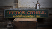 Grill Custom For Bbq Pit Decor Grill - Rustic Distressed Wood Sign