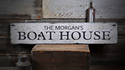 Boat House Lake House Decor Boating - Rustic Distressed Wood Sign