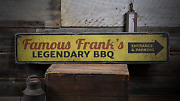 Legendary Bbq, Custom Barbeque Gift - Rustic Distressed Wood Sign