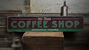 Old Town Coffee Shop Custom Java Store - Rustic Distressed Wood Sign