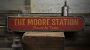 Family Train Station, Custom Last Name - Rustic Distressed Wood Sign