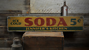 Ice Cold Soda 5 Cents Custom - Rustic Distressed Wood Sign