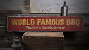 World Famous Bbq Custom Smokehouse - Rustic Distressed Wood Sign