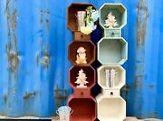 2 Or 4pc Wall Drawer Storage Float Shelves Wood Octagonal Shelving Bookcase Cube