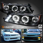 For 1993-1997 Toyota Corolla Black Led Halo Projector Headlights Lamp Left+right