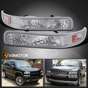 For 1999-2002 Chevy Silverado Tahoe Clear Signal Bumper Parking Lights Lamps L+r