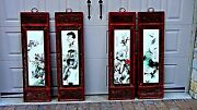 Early 20c Chinese 4 Panel Painting On Porcelain Plaques Of Birdsand Flowefssigned